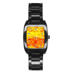 Bright Background Orange Yellow Stainless Steel Barrel Watch by Simbadda