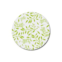 Leaves Pattern Seamless Rubber Coaster (round)  by Simbadda