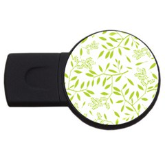 Leaves Pattern Seamless Usb Flash Drive Round (2 Gb) by Simbadda