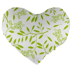 Leaves Pattern Seamless Large 19  Premium Flano Heart Shape Cushions by Simbadda