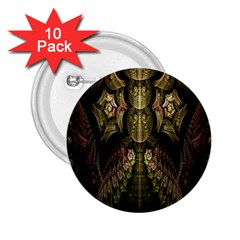 Fractal Abstract Patterns Gold 2 25  Buttons (10 Pack)  by Simbadda