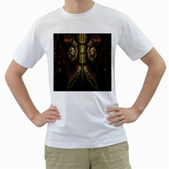 Fractal Abstract Patterns Gold Men s T Shirt (white) (two Sided) by Simbadda