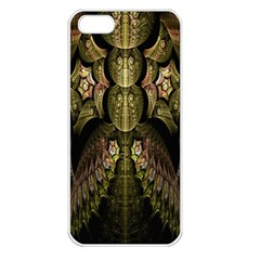 Fractal Abstract Patterns Gold Apple Iphone 5 Seamless Case (white) by Simbadda