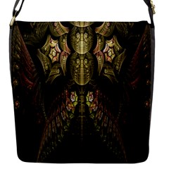 Fractal Abstract Patterns Gold Flap Messenger Bag (s) by Simbadda