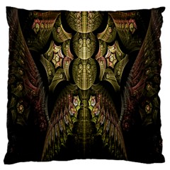 Fractal Abstract Patterns Gold Large Flano Cushion Case (one Side) by Simbadda