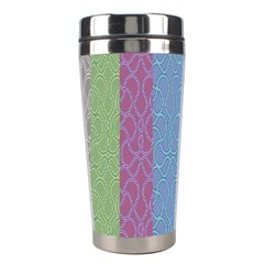 Fine Line Pattern Background Vector Stainless Steel Travel Tumblers by Simbadda