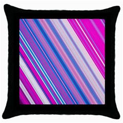 Line Obliquely Pink Throw Pillow Case (black) by Simbadda
