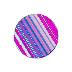 Line Obliquely Pink Rubber Coaster (Round)