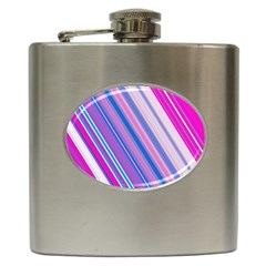 Line Obliquely Pink Hip Flask (6 Oz) by Simbadda