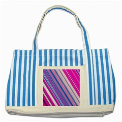 Line Obliquely Pink Striped Blue Tote Bag by Simbadda