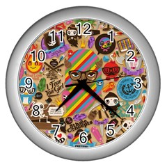Background Images Colorful Bright Wall Clocks (silver)  by Simbadda