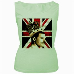 Freddie Mercury Women s Green Tank Top