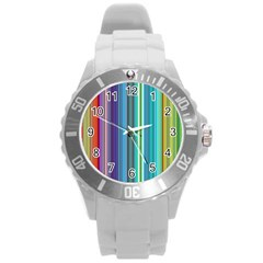 Color Stripes Round Plastic Sport Watch (l) by Simbadda