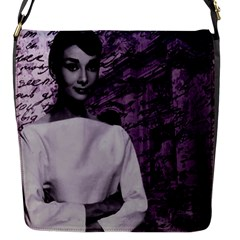 Audrey Hepburn Flap Messenger Bag (s) by Valentinaart