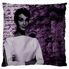 Audrey Hepburn Large Flano Cushion Case (one Side) by Valentinaart