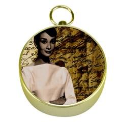 Audrey Hepburn Gold Compasses by Valentinaart