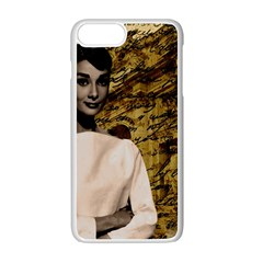 Audrey Hepburn Apple iPhone 7 Plus White Seamless Case by Valentinaart