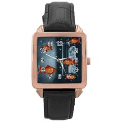 Natural Habitat Rose Gold Leather Watch  by Valentinaart