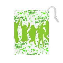 Saint Patrick Motif Drawstring Pouches (large)  by dflcprints