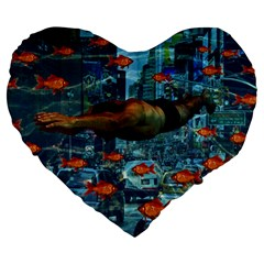 Urban Swimmers   Large 19  Premium Flano Heart Shape Cushions by Valentinaart