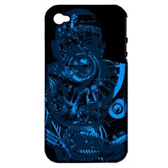 Warrior   Blue Apple Iphone 4/4s Hardshell Case (pc+silicone) by Valentinaart