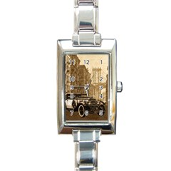 Vintage Old Car Rectangle Italian Charm Watch