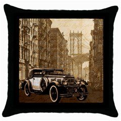 Vintage Old Car Throw Pillow Case (black) by Valentinaart