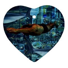 Urban Swimmers   Heart Ornament (two Sides) by Valentinaart