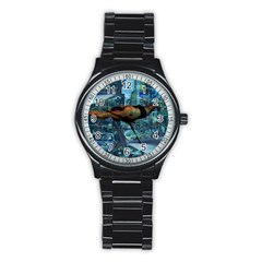 Urban Swimmers   Stainless Steel Round Watch by Valentinaart