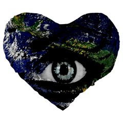 Mother Earth  Large 19  Premium Heart Shape Cushions by Valentinaart