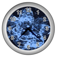 Blue Angel Wall Clocks (silver)  by Valentinaart