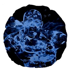 Blue Angel Large 18  Premium Flano Round Cushions by Valentinaart