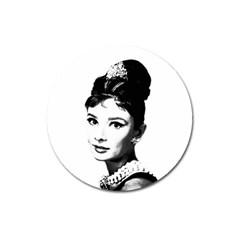 Audrey Hepburn Magnet 3  (round) by Valentinaart