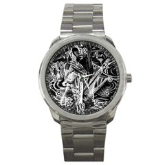 Gray Girl  Sport Metal Watch by Valentinaart