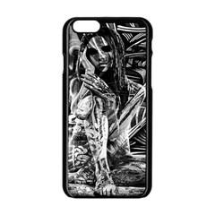 Gray Girl  Apple Iphone 6/6s Black Enamel Case by Valentinaart
