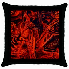 Red Girl Throw Pillow Case (black) by Valentinaart