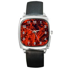Red Girl Square Metal Watch by Valentinaart