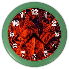 Red Girl Color Wall Clocks by Valentinaart