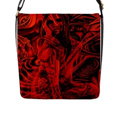 Red Girl Flap Messenger Bag (l)  by Valentinaart