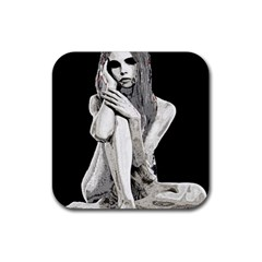 Stone Girl Rubber Square Coaster (4 Pack)  by Valentinaart