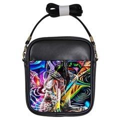 Graffiti Girl Girls Sling Bags by Valentinaart