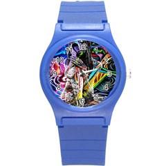 Graffiti Girl Round Plastic Sport Watch (s) by Valentinaart