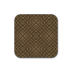 Wooden Ornamented Pattern Rubber Coaster (square)  by dflcprints