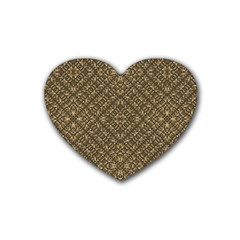 Wooden Ornamented Pattern Rubber Coaster (heart)  by dflcprints