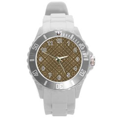 Wooden Ornamented Pattern Round Plastic Sport Watch (l) by dflcprints