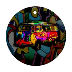 Hippie Van  Ornament (round) by Valentinaart