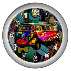 Hippie Van  Wall Clocks (silver)  by Valentinaart