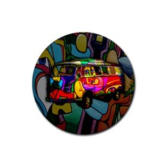 Hippie Van  Rubber Round Coaster (4 Pack)  by Valentinaart