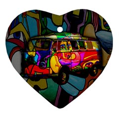 Hippie Van  Heart Ornament (two Sides) by Valentinaart