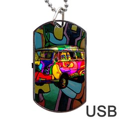 Hippie Van  Dog Tag Usb Flash (two Sides) by Valentinaart